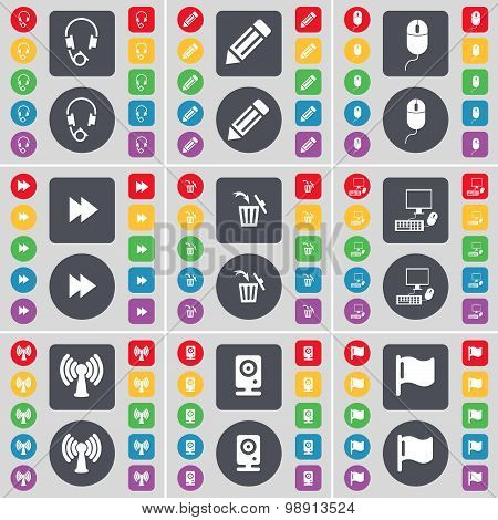 Headphones, Pencil, Mouse, Rewind, Trash Can, Pc, Wi-fi, Speaker, Flag Icon Symbol. A Large Set Of F