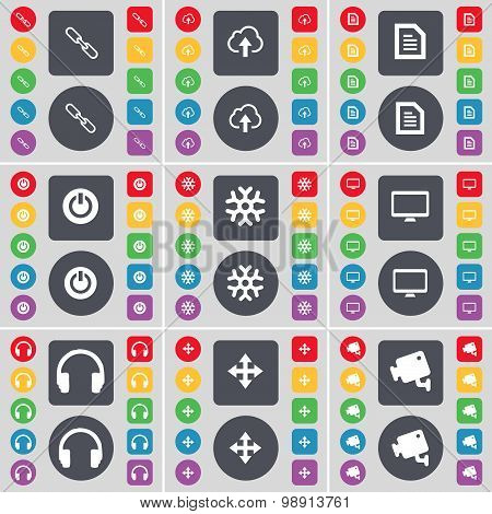 Link, Cloud, Text File, Power, Snowflake, Monitor, Headphones, Moving, Cctv Icon Symbol. A Large Set