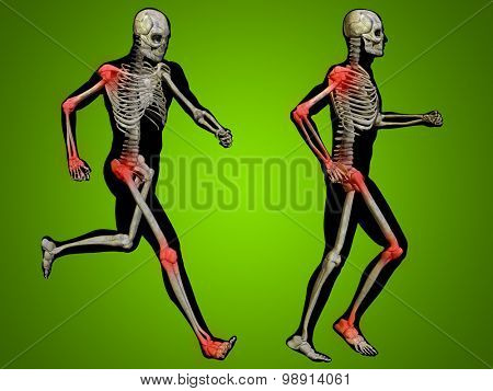 Concept or conceptual 3D human man or male skeleton pain or ache anatomy transparent body, green background