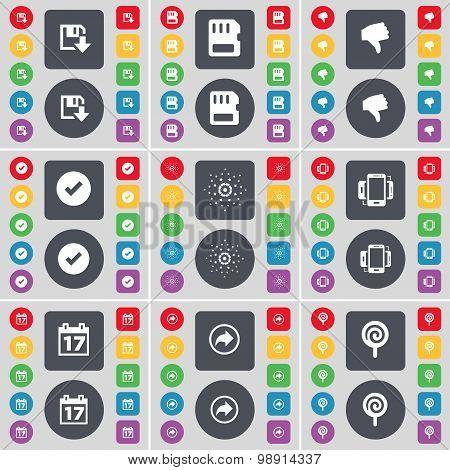 Floppy, Sim Card, Dislike, Tick, Star, Smartphone, Calendar, Back, Lollipop Icon Symbol. A Large Set