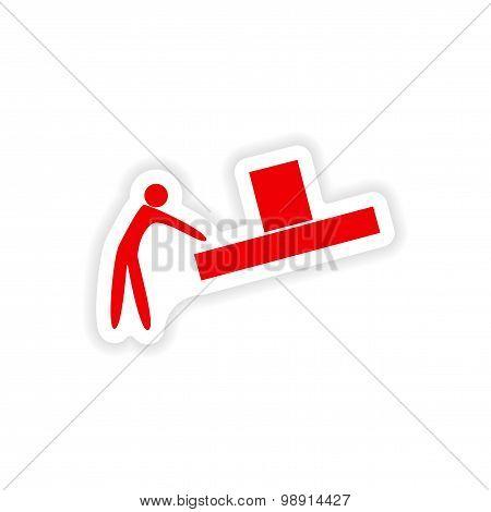 icon sticker realistic design on paper loader box