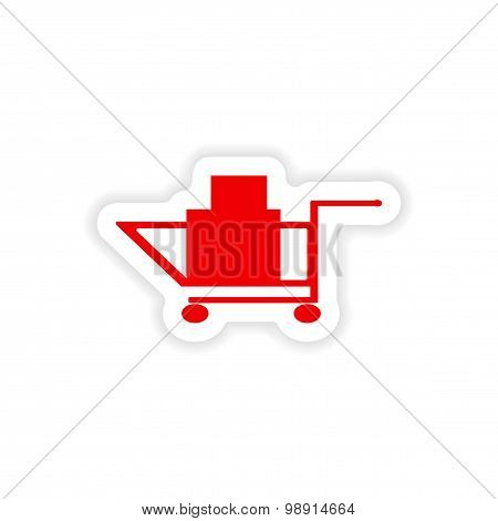 icon sticker realistic design on paper trolley boxes