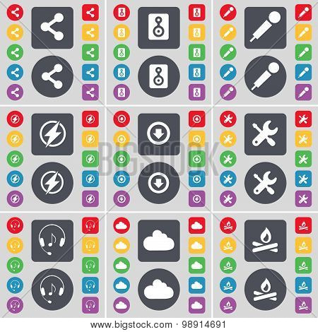 Share, Speaker, Microphone, Flash, Arrow Down, Wrench, Headphones, Cloud, Campfire Icon Symbol. A La