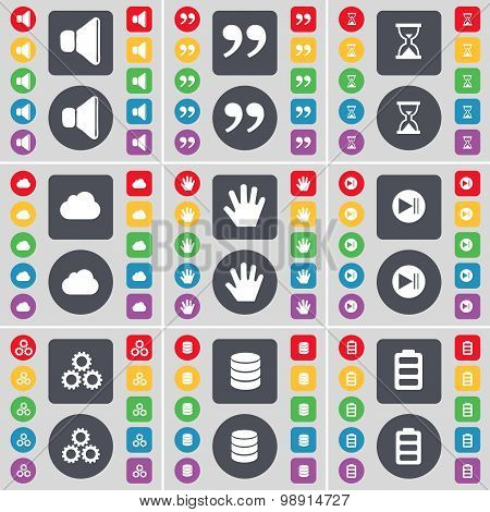 Sound, Quotation Mark, Hourglass, Cloud, Hand, Media Skip, Gear, Database, Battery Icon Symbol. A La