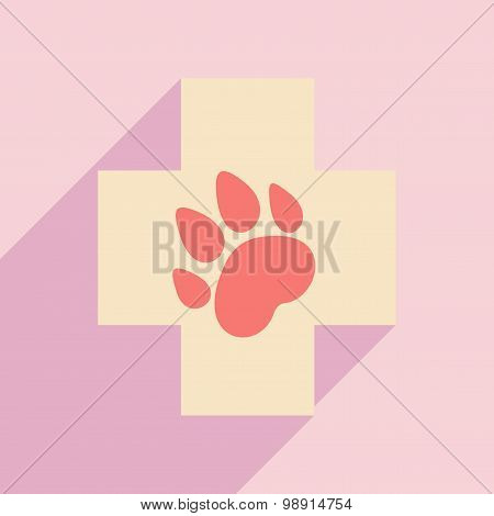 Flat with shadow icon and mobile application Veterinary