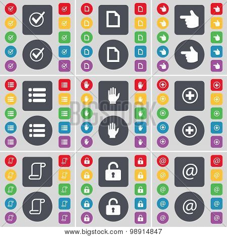 Tick, File, Hand, List, Hand, Plus, Scroll, Lock, Mail Icon Symbol. A Large Set Of Flat, Colored But