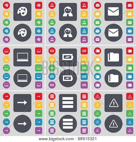 Palette, Avatar, Message, Laptop, Charging, Folder, Arrow Right, Apps, Warning Icon Symbol. A Large