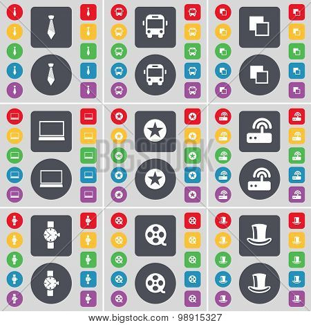 Tie, Bus, Copy, Laptop, Star, Router, Wrist Watch, Videotape, Silk Hat Icon Symbol. A Large Set Of F