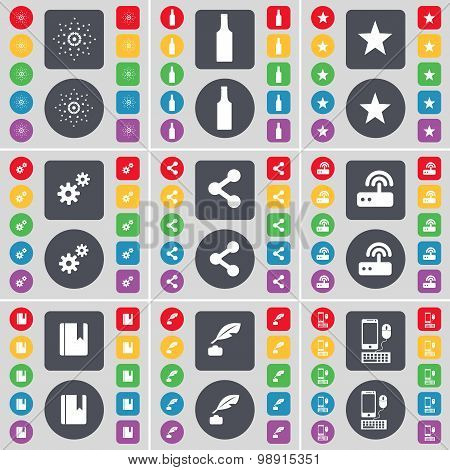 Star, Bottle, Star, Gear, Share, Router, Dictionary, Ink Pot, Smartphone Icon Symbol. A Large Set Of