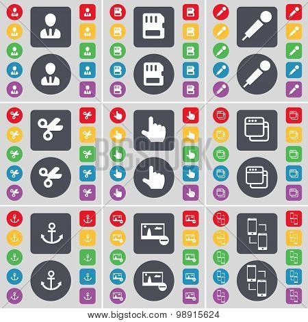 Avatar, Sim Card, Microphone, Scissors, Hand, Window, Anchor, Picture, Connection Icon Symbol. A Lar