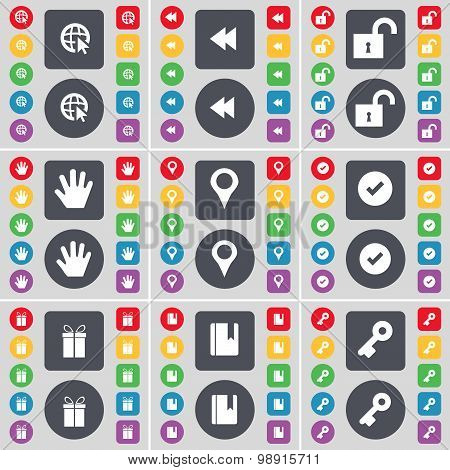Web Cursor, Rewind, Lock, Hand, Checkpoint, Tick, Gift, Dictionary, Key Icon Symbol. A Large Set Of