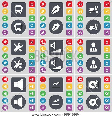 Bus, Ink Pen, Scooter, Wrench, Volume, Avatar, Sound, Graph, Gramophone Icon Symbol. A Large Set Of