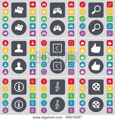 Film Camera, Gamepad, Magnifying Glass, Avatar, Arrow Left, Like, Information, Clef, Videotape Icon