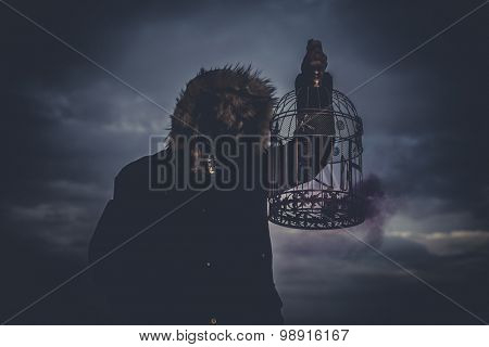 Zombie, man with mask wolf and lamp with colored smoke