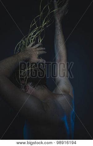 failure, depression and anxiety, naked man with a crown of thorns on his head