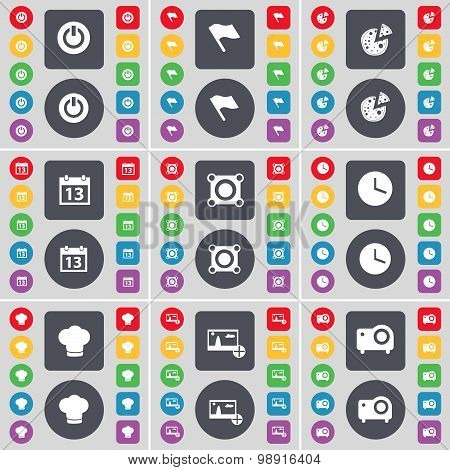 Power, Flag, Pizza, Calendar, Speaker, Clock, Cooking Hat, Picture, Projector Icon Symbol. A Large S