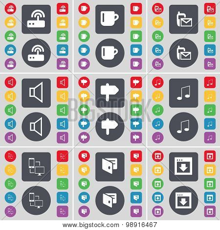 Router, Cup, Sms, Sound, Signpost, Note, Connection, Wallet, Window Icon Symbol. A Large Set Of Flat