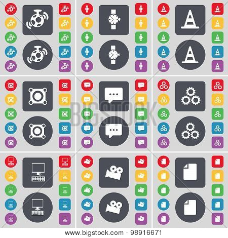 Speaker, Wrist Watch, Cone, Speaker, Chat Bubble, Gear, Pc, Film Camera, File Icon Symbol. A Large S