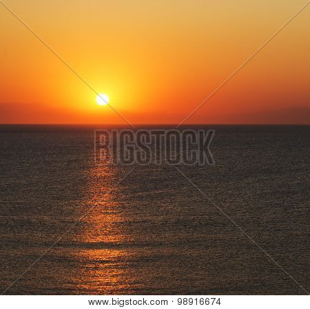 The Sun Rises Over Mountains In Turkey Seen From Rhodes