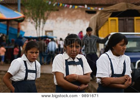 Three Peruvian Schoolgirls.