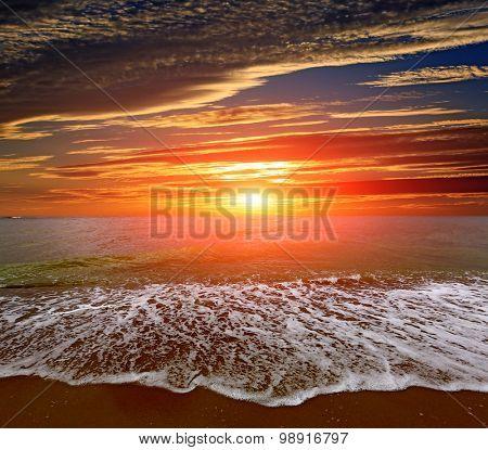 Nice sunset landscape over sea