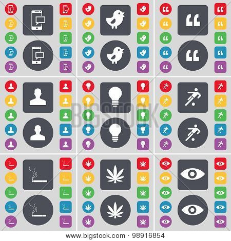 Sms, Bird, Quotation Mark, Avatar, Light Bulb, Silhouette, Cigarette, Marijuana, Vision Icon Symbol.