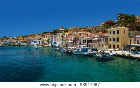 Multi-coloured Buildings Of Halki Island (chalki)