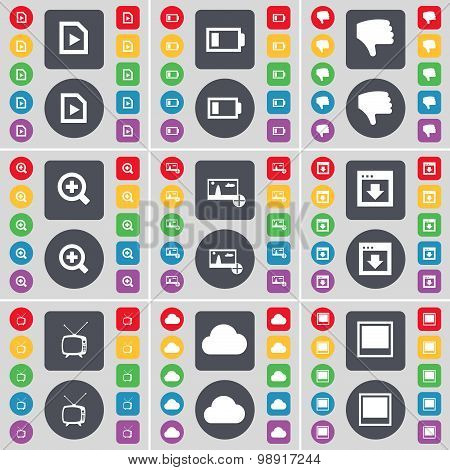 Media File, Battery, Dislike, Magnifying Glass, Picture, Window, Retro Tv, Cloud Icon Symbol. A Larg