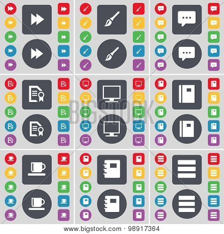 Rewind, Brush, Brush, Chat Bubble, Text File, Monitor, Notebook, Cup, Notebook, Apps Icon Symbol. A
