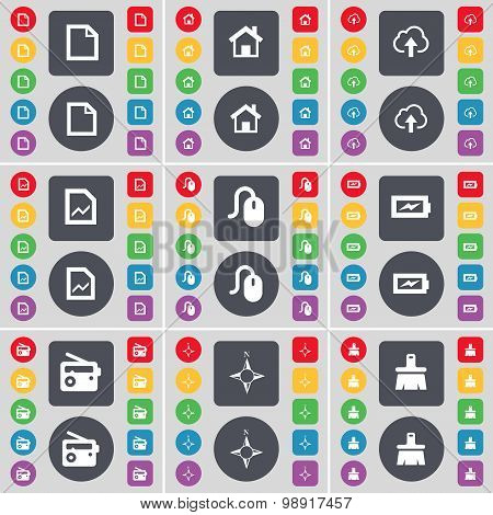 File, House, Cloud, Graph File, Mouse, Charging, Radio, Compass, Brush Icon Symbol. A Large Set Of F