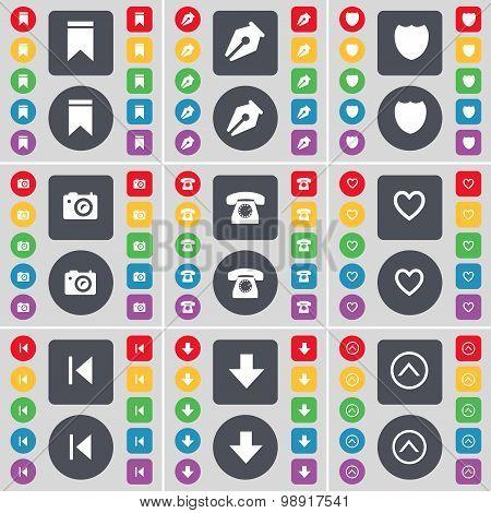 Marker, Ink Pen, Badge, Camera, Retro Phone, Heart, Media Skip, Arrow Down, Arrow Up Icon Symbol. A