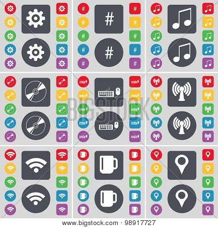 Gear, Hashtag, Note, Disk, Keyboard, Wi-fi, Cup, Checkpoint Icon Symbol. A Large Set Of Flat, Colore