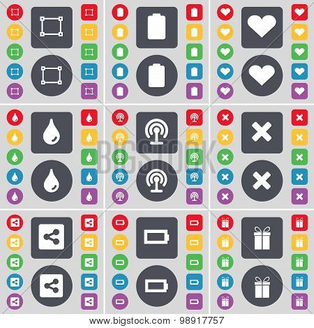 Frame, Battery, Heart, Drop, Wi-fi, Stop, Share, Battery, Gift Icon Symbol. A Large Set Of Flat, Col