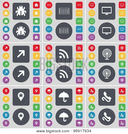 Bug, Equalizer, Monitor, Full Screen, Rss, Wi-fi, Checkpoint, Umbrella, Receiver Icon Symbol. A Larg