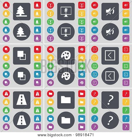 Firtree, Monitor, Mute, Copy, Palette, Arrow Left, Road, Folder, Question Mark Icon Symbol. A Large