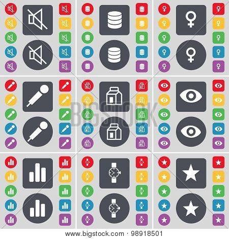 Mute, Database, Venus Symbol, Microphone, Packing, Vision, Diagram, Wrist Watch, Star Icon Symbol. A