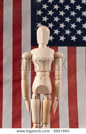 Wooden Art Doll In Attention Military Stance