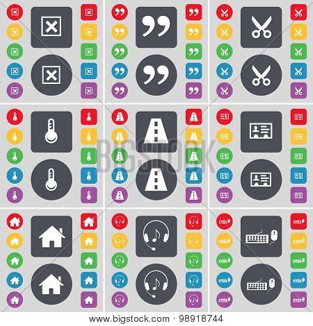 Stop, Quotation Mark, Scissors, Thermometer, Road, Credit Card, House, Headphones, Keyboard Icon Sym