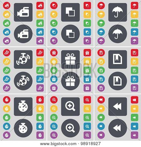 Film Camera, Copy, Umbrella, Speaker, Gift, File, Stop Watch, Magnifying Glass, Rewind Icon Symbol.