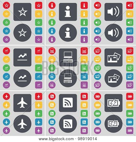 Star, Information, Sound, Graph, Laptop, Picture, Airplane, Rss, Charging Icon Symbol. A Large Set O