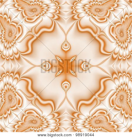 Kaleidoscopic Ornate Background. Seamless Pattern In Orange