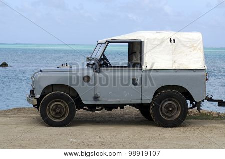 AITUTAKI, COOK ISLANDS - SEP 17: Land Rover Series II 88 on Sep 17 2013. It's a very old Series from the 1960's and it the first vehicle to use the well-known 2.25-litre Land Rover petrol engine.