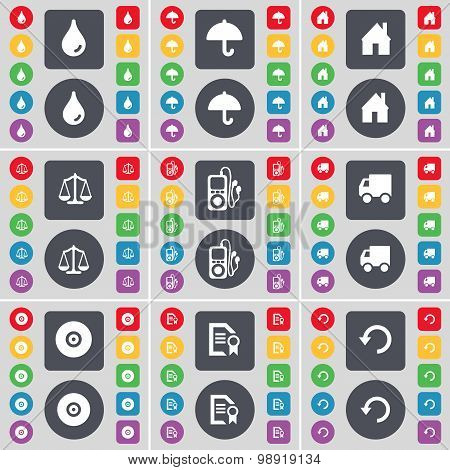 Drop, Umbrella, House, Scales, Mp3, Truck, Disk, Text File, Reload Icon Symbol. A Large Set Of Flat,