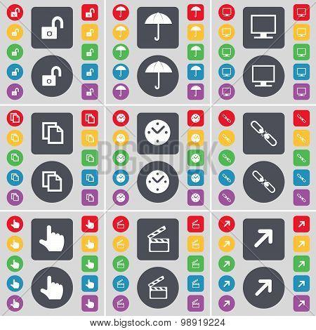 Lock, Umbrella, Monitor, Copy, Clock, Link, Hand, Clapper, Full Screen Icon Symbol. A Large Set Of F
