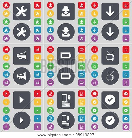 Wrench, Avatar, Arrow Down, Megaphone, Battery, Retro Tv, Media Play, Smartphone, Tick Icon Symbol.