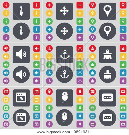 Tie, Moving, Checkpoint, Sound, Anchor, Brush, Window, Mouse, Cassette Icon Symbol. A Large Set Of F