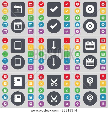 Calendar, Tick, Disk, Tablet Pc, Arrow Down, Notebook, Scissors, Lollipop Icon Symbol. A Large Set O