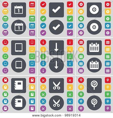 Calendar, Tick, Disk, Tablet Pc, Arrow Down, Notebook, Scissors, Lollipop Icon Symbol. A Large Set O
