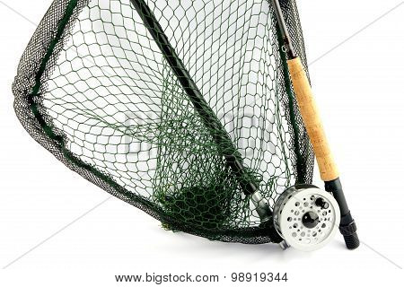 Fly Fishing Rod And Reel With Landing Net On White Background