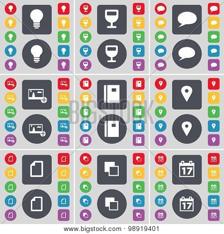 Light Bulb, Wineglass, Chat Bubble, Picture, Notebook, Checkpoint, File, Copy, Calendar Icon Symbol.